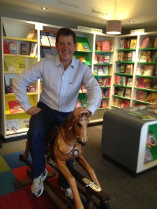 Steve S supporting independent bookshop day by riding a horse!