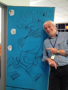 Steve B with a large Action Dog in Bonn International School!
