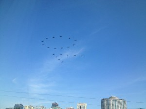 Helicopters forming a 70!
